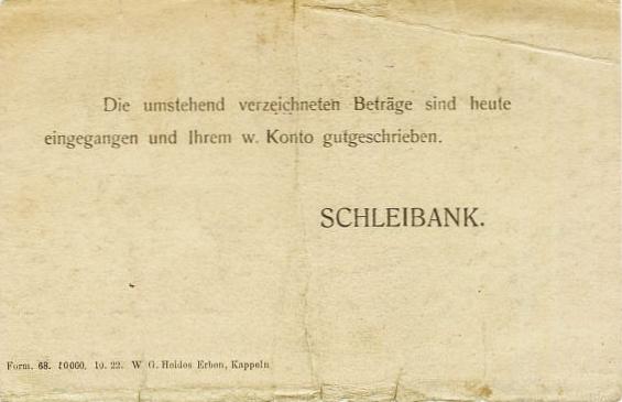Schleibank - Gutschrift von 1923