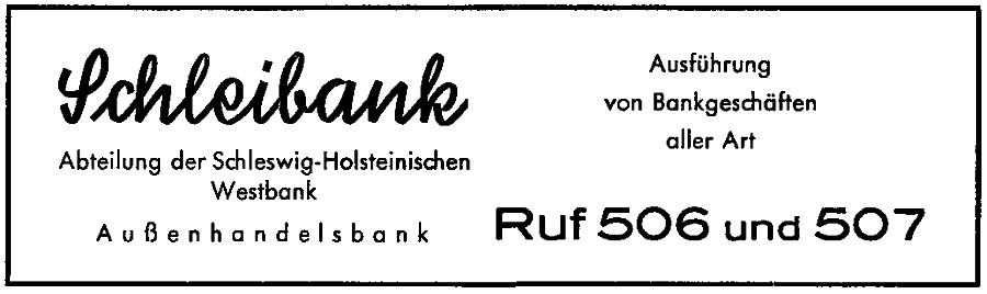 Schleibank - Anzeige von 1954
