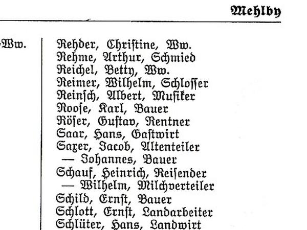 Mehlby - Adressbuch Flensburg 1938