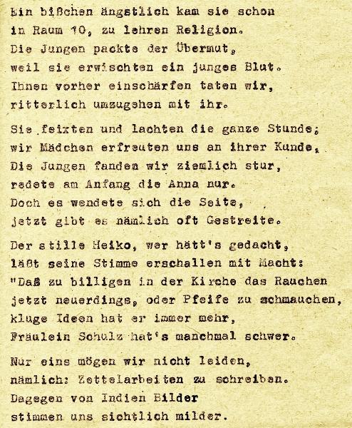 """Abschlussfeier UIIE - Fest-Zeitung 1958 - """"Fräulein Schulz"""""""