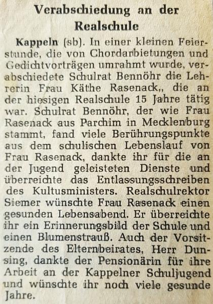 Verabschiedung Käthe Rasenack (Schlei-Bote 1974)