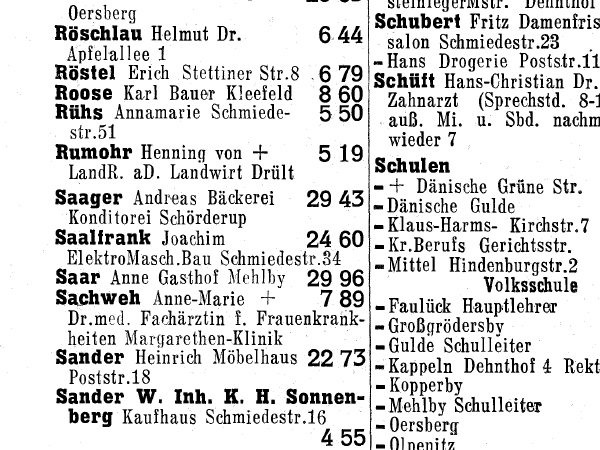Kappeln - Amtliches Fernsprechbuch 1964