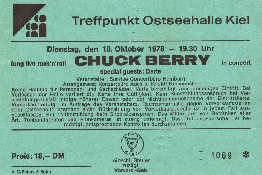 Chuck Berry Ticket - Kiel 1978