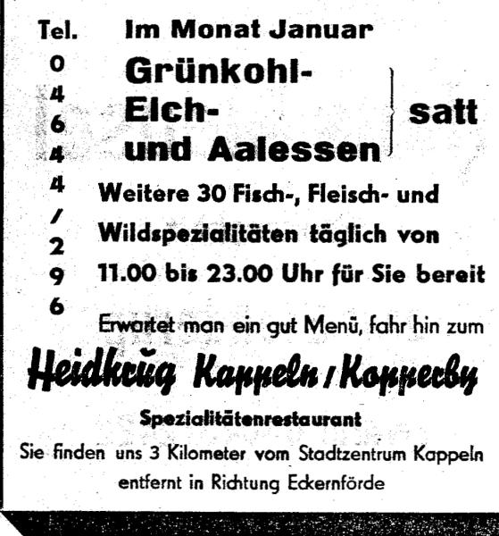Heidkrug Kopperby - Anzeige vom Januar 1976