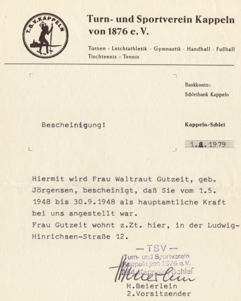 TSV Kappeln - Bescheinigung