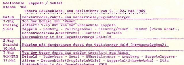 Realschule - Klasse 10a - Deutschlandfahrt 1969