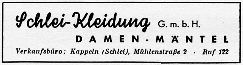 Kappeln - Schlei-Kleidung (Anzeige von 1954)
