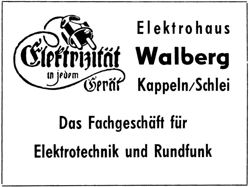 Kappeln - Elektrohaus Walberg (Anzeige von 1957)