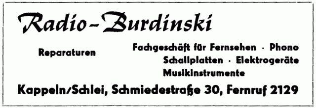 Radio-Burdinski - Anzeige von 1963