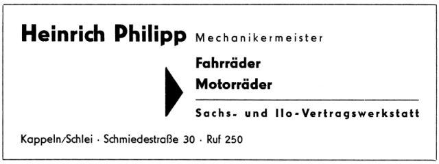 Heinrich Phillip - Anzeige von 1956