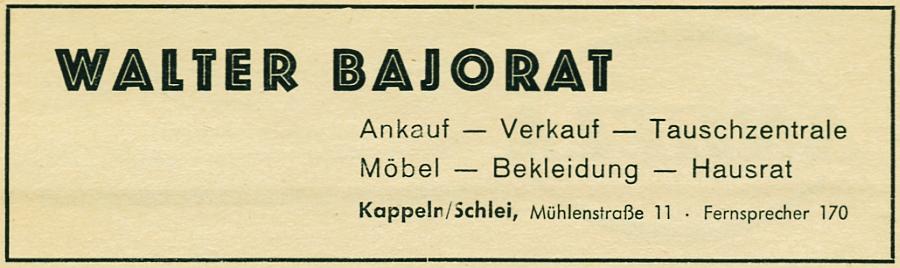 Kappeln - Bajorat - Anzeige von 1954