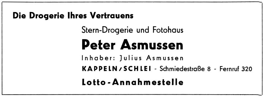 Drogerie Asmussen - Anzeige von 1957