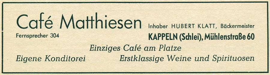 Café Mathiessen - Anzeige von 1955