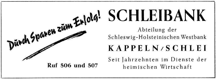 Schleibank - Anzeige von 1957