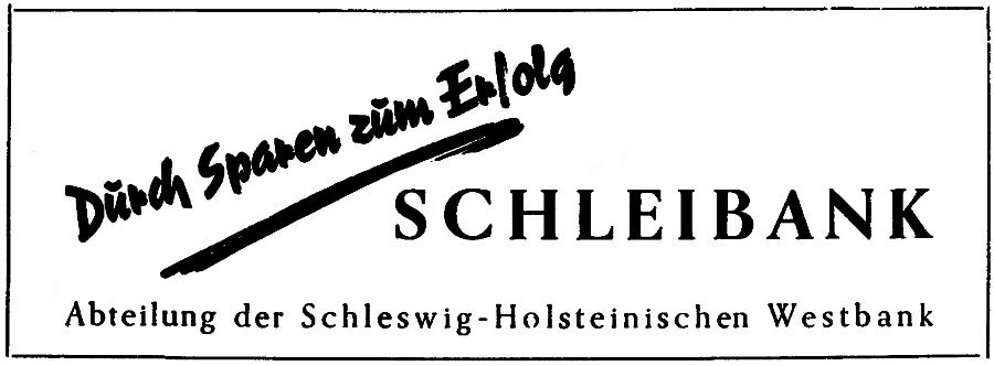 Schleibank - Anzeige von 1961