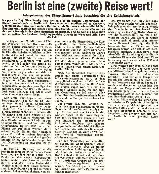 SCHLEI-BOTE vom 03.04.1968 - Klassenfahrt nach Berlin