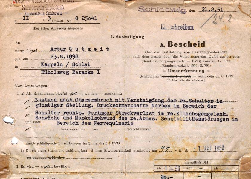 Artur Gutzeit - Dokument 1951