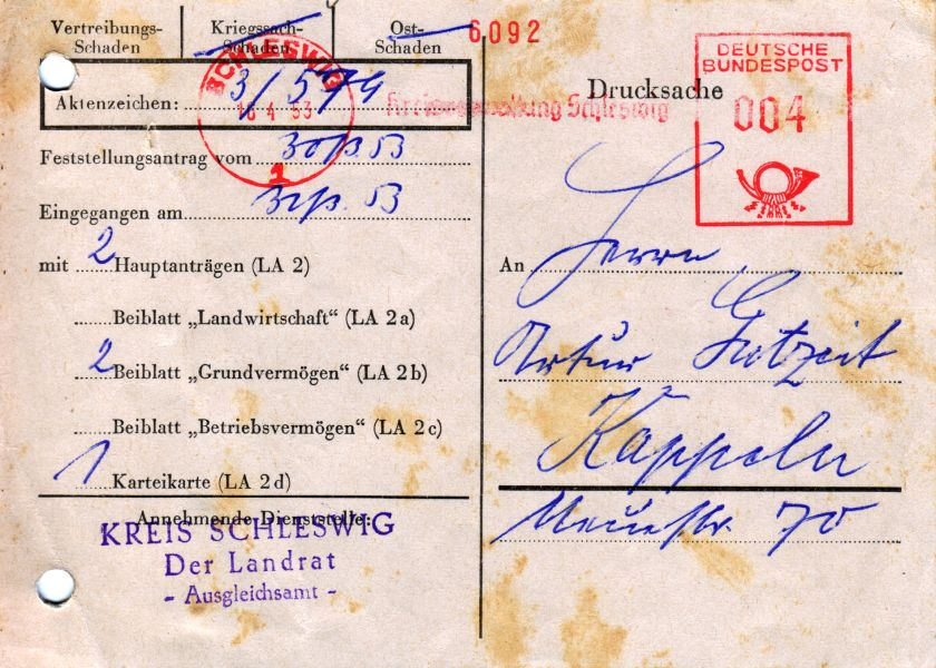 Artur Gutzeit - Dokument 1953