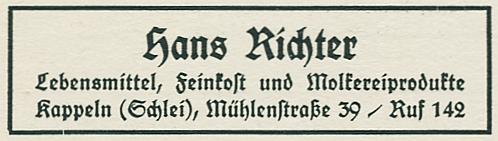 Hans Richter - Anzeige von 1954