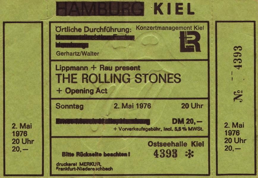 Rolling Stones - Ticket - Kiel 1976