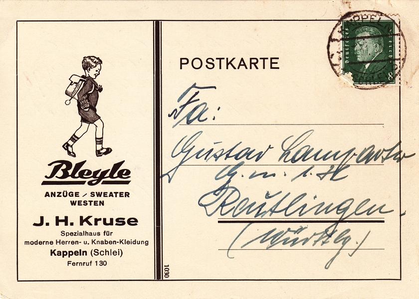J. H. Kruse  - Postkarte (1931)