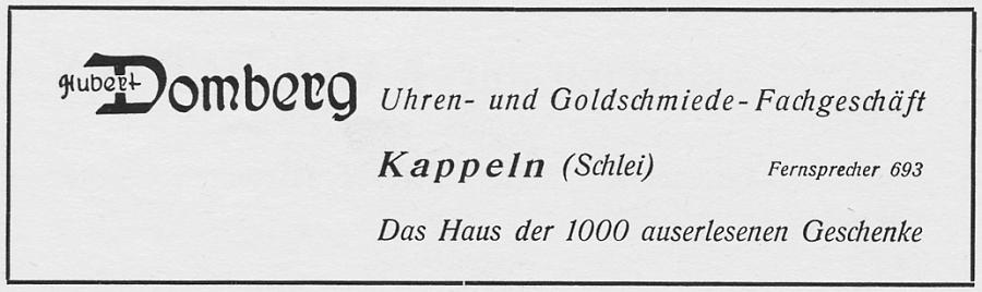 Kappeln - Domberg (Anzeige von 1954)