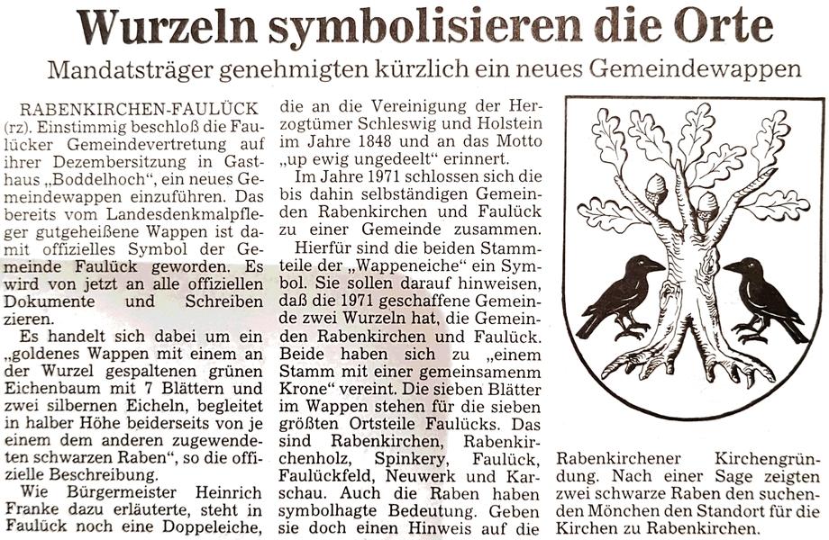 Rabenkirchen-Faulück - Wappen (1991)