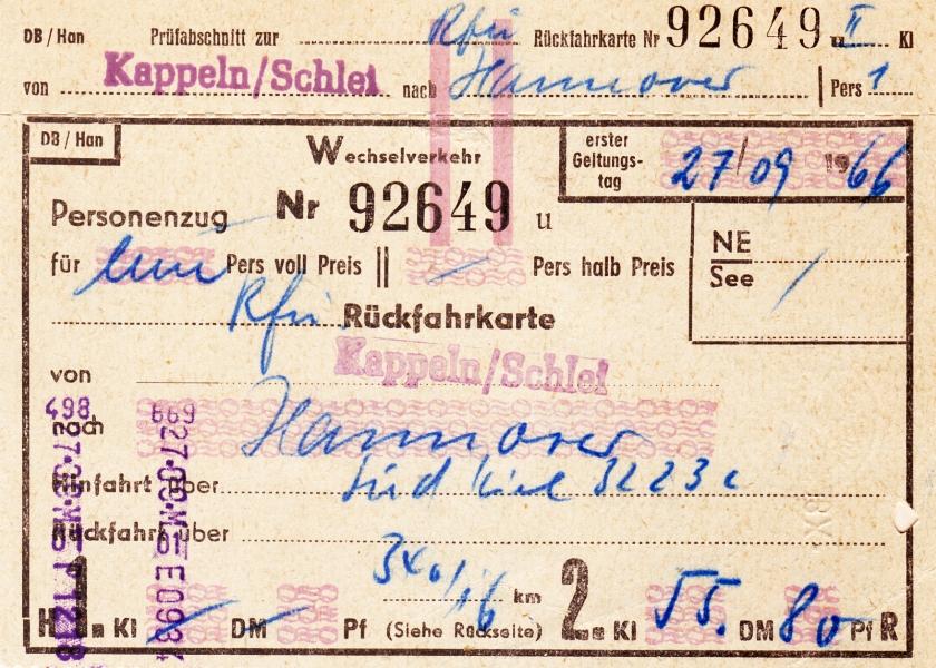 Fahrkarte 1966