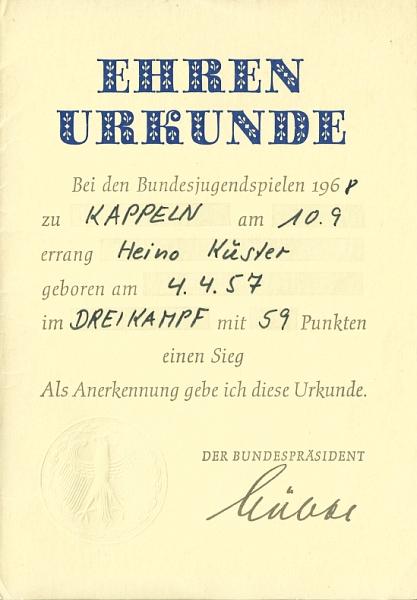 """Klaus-Harms-Schule - Bundesjugendspiele 1968 - """"Lübke-Urkunde"""""""
