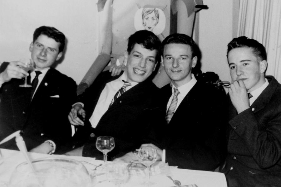 Abschlussfest 1961 im Strandhotel - Martin Kübler, Dietrich von Horn, Volker Guth, Volker Müller
