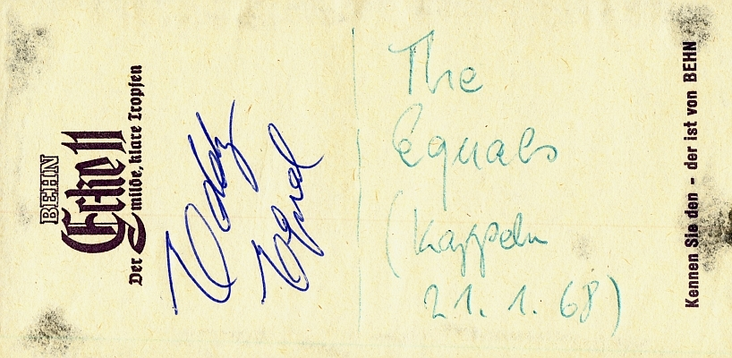 The Equals - Eddy Grant - Autogramm (1968)