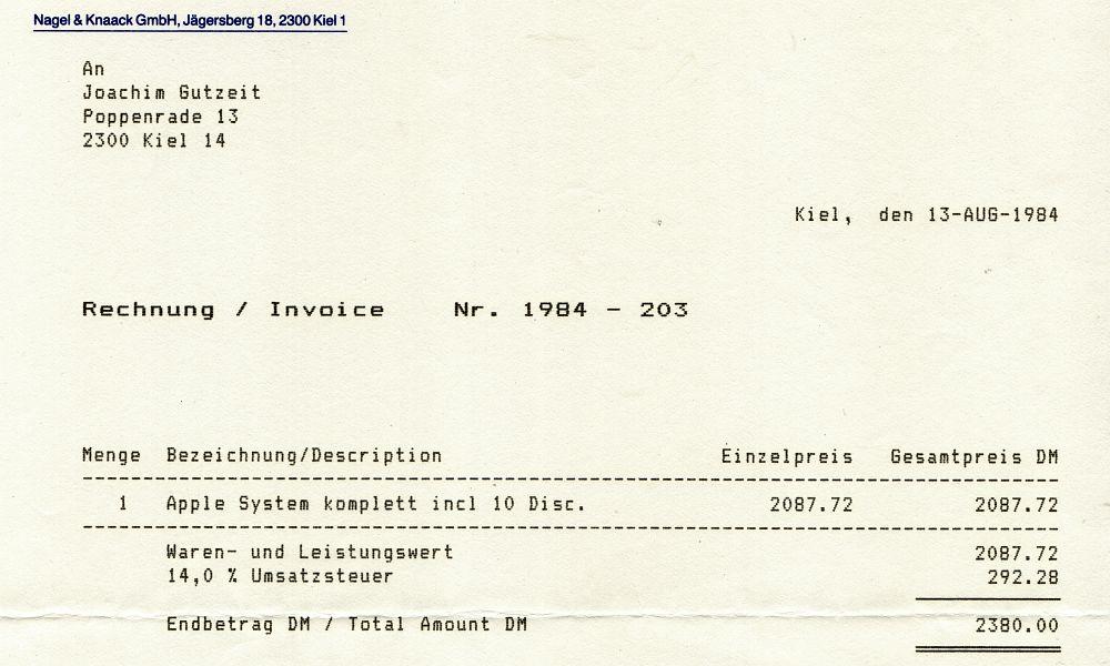 Apple ][ - Rechnung vom 13. August 1984