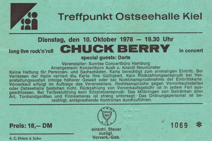 Chuck Berry Ticket - Kiel 1978