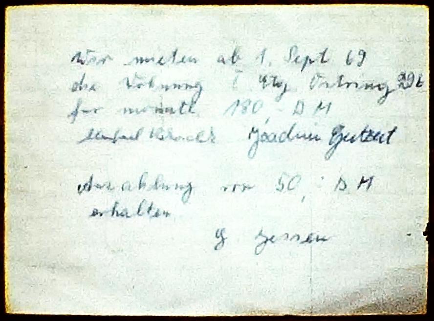 Mietvertrag 1969