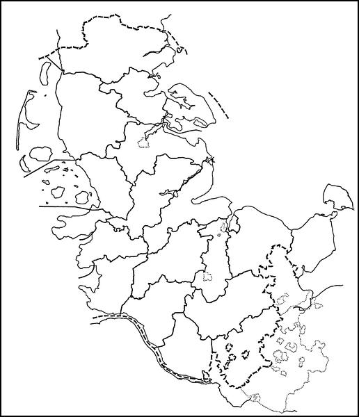 Kreise Schleswig-Holsteins 1867 - Umrisskarte