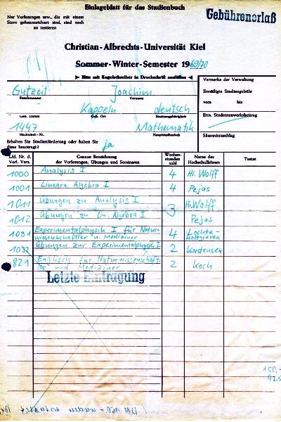 Uni Kiel - Vorlesungen 1969/70