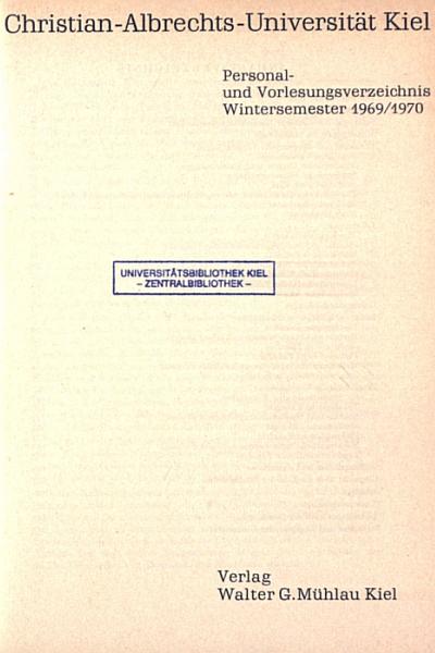 Uni Kiel - Vorlesungsverzeichnis 1969/70