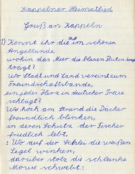 Heimatkundebuch 1958 - Kappelner Heimatlied (1)