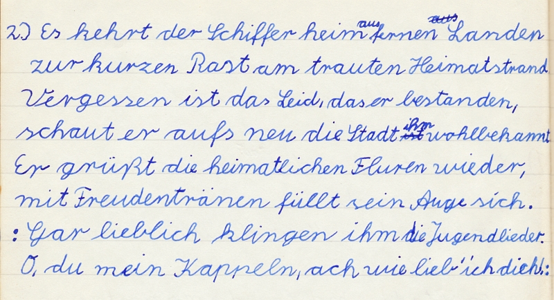 Heimatkundeheft 1958 - Kappelner Heimatlied (2)