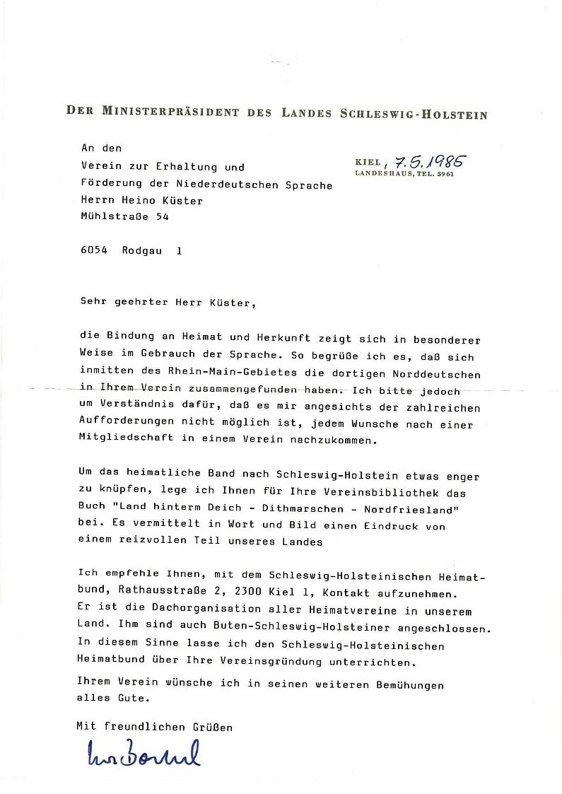 Schreiben von U. Barschel an H. Küster 1985