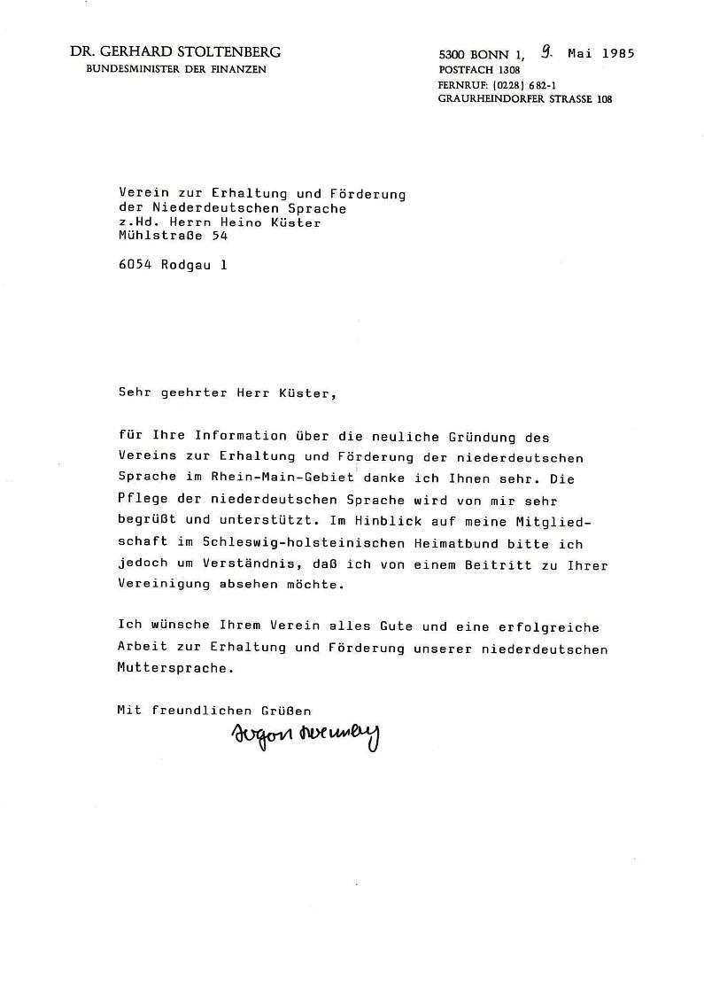 Schreiben von G. Stoltenberg an H. Küster 1985