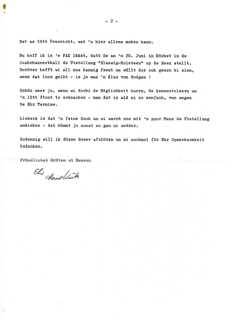 Schreiben von H. Küster an U. Barschel 1986