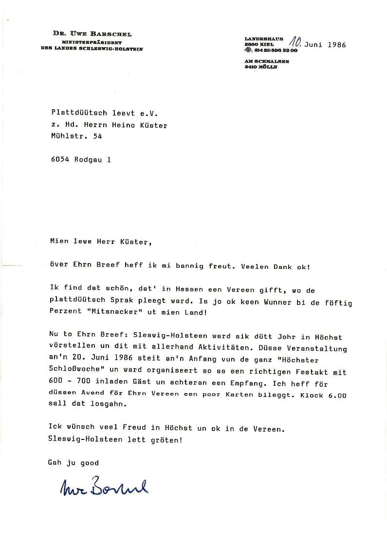 Schreiben von U. Barschel an H. Küster 1986