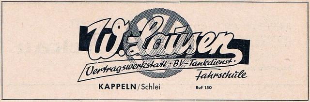 Kappeln - Willi Lausen - Anzeige von 1955