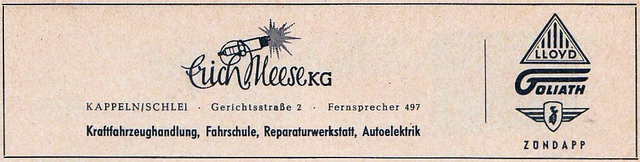 Kappeln - Erich Meese - Anzeige von 1955