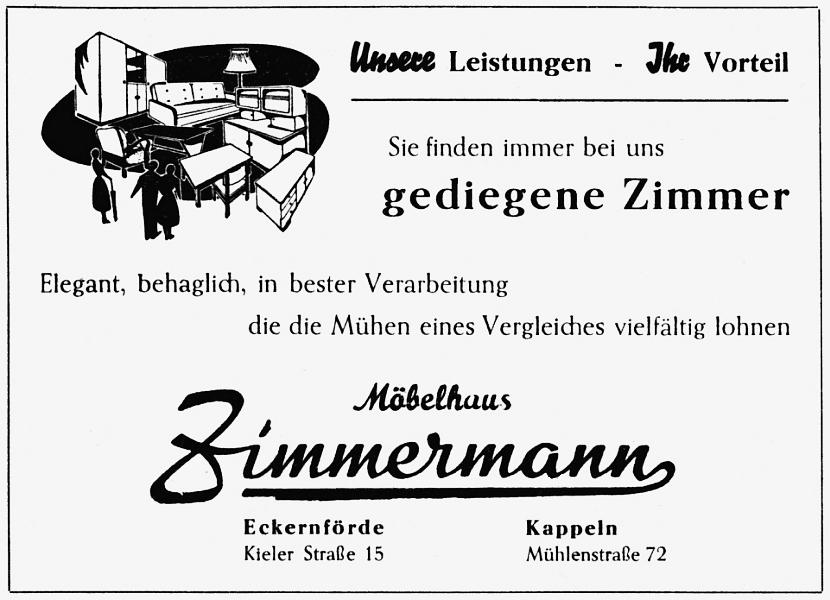 Möbelhaus Zimmermann - Anzeige (1956)
