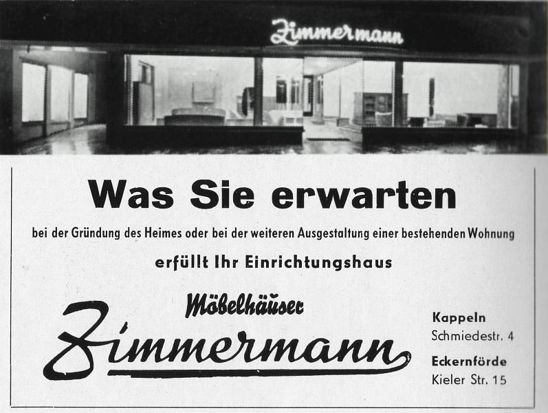 Möbelhaus Zimmermann - Anzeige (1957)