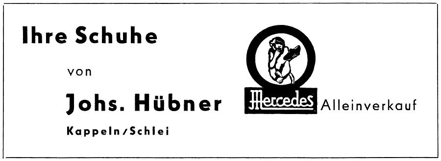 Kappeln - Hübner - Anzeige von 1954