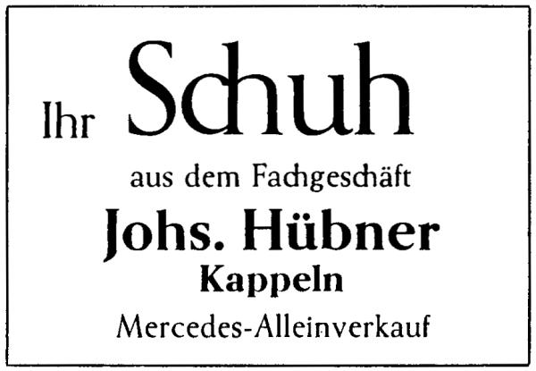 Kappeln - Hübner - Anzeige von 1961