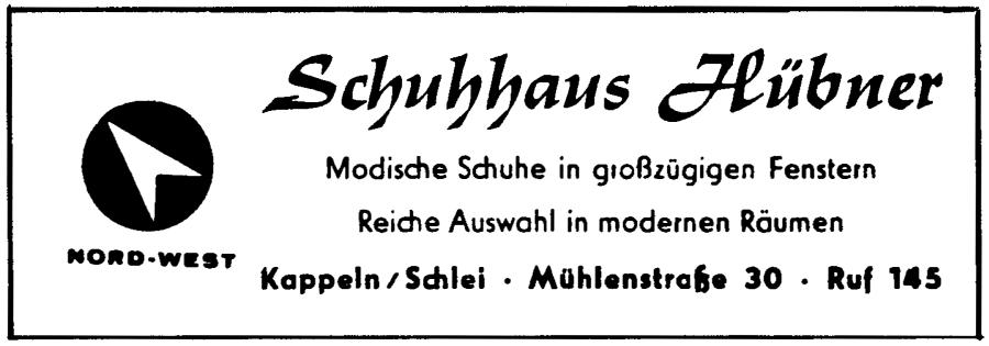 Kappeln - Hübner - Anzeige von 1962